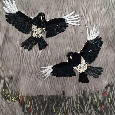 Färgat fåglar fritt broderi
