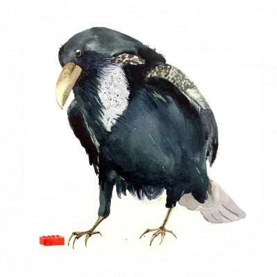 akvarell av en kråka som tittar ner på en legobit