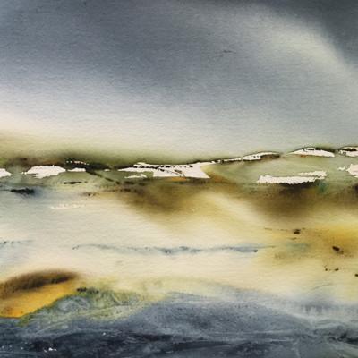 målad flödig ackvarell på landskap